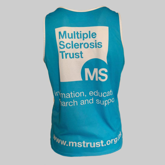 Women's MS Trust blue running vest - back
