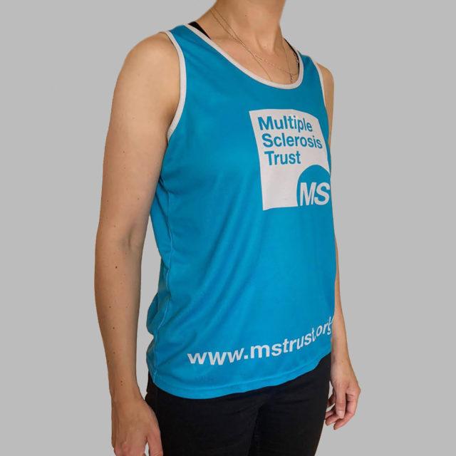 Women's MS Trust blue running vest - side