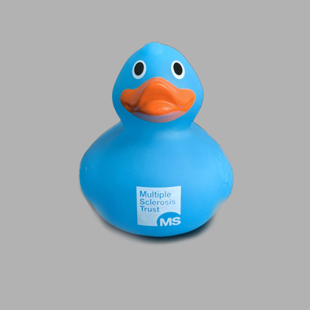 Blue MS Trust rubber duck with orange beak