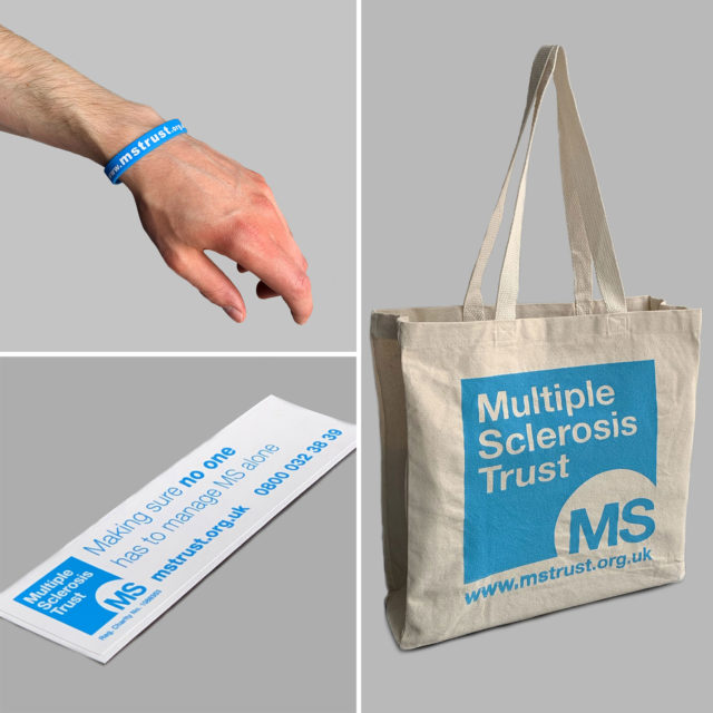 MS Trust branded cotton bag, blue wristband and window sticker
