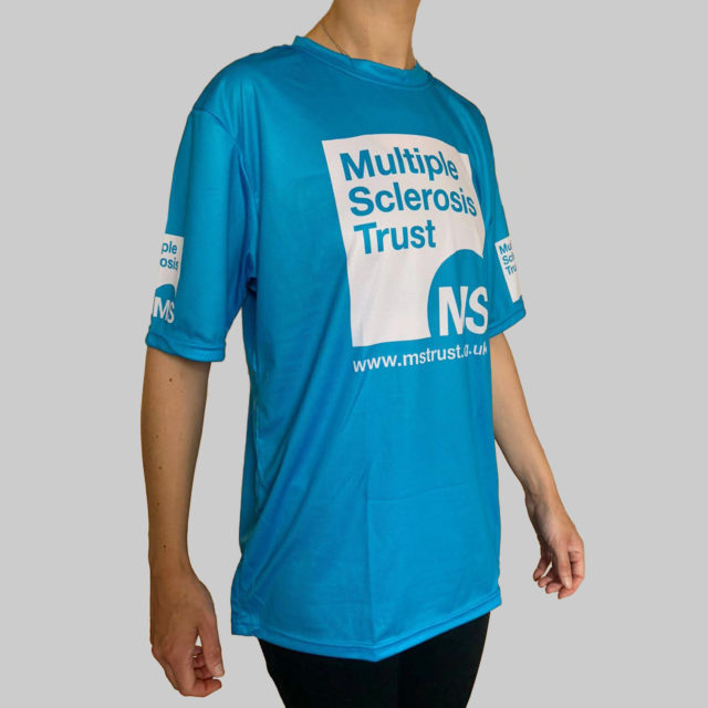 Unisex MS Trust blue breathable t-shirt - side - female model