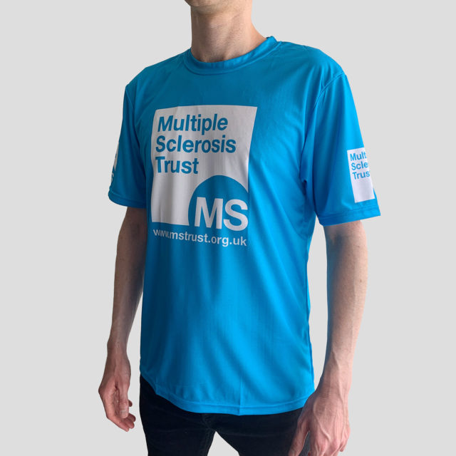 Unisex MS Trust blue breathable t-shirt - side - male model
