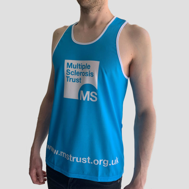Men's MS Trust blue running vest - side 2