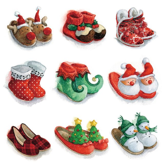 Nine pairs of festive slippers charity Christmas card