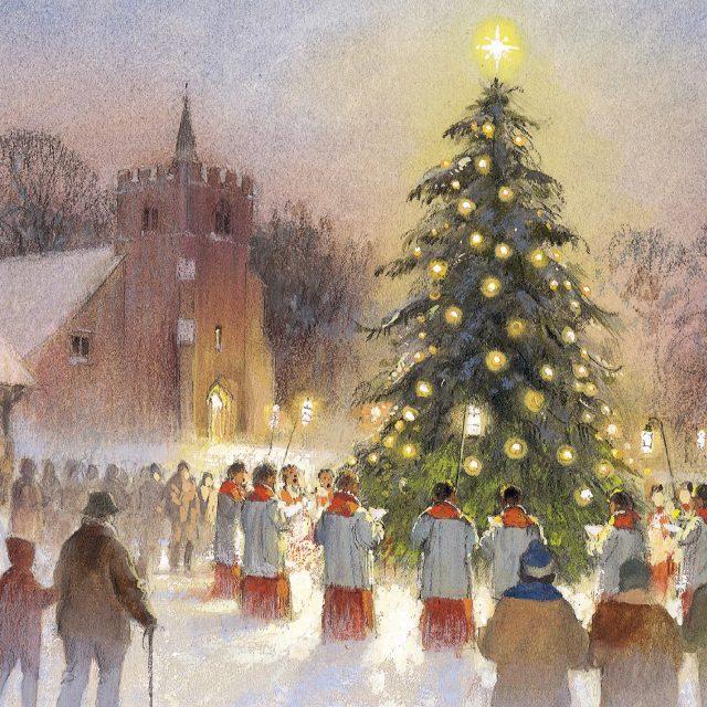 Carolers singing around tree charity Christmas card