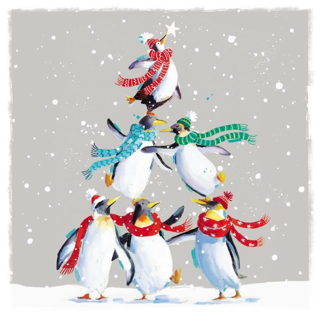Penguins wearing scarves charity Christmas card
