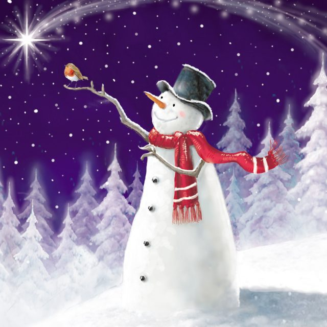 Snowman with a Robin on branch arms charity Christmas card