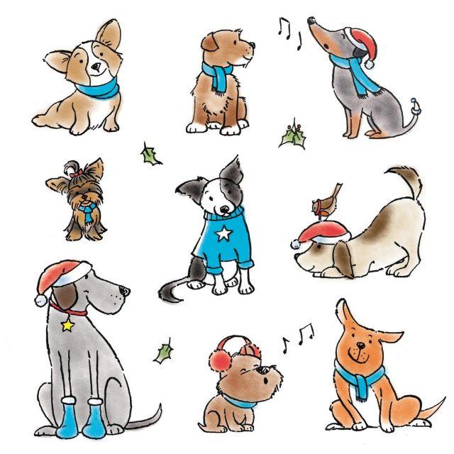Nine dogs wearing winter woolies charity Christmas card