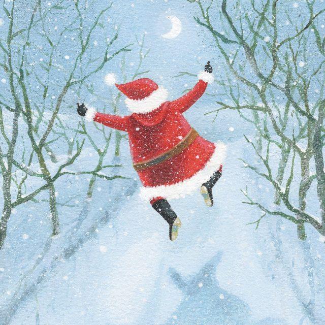 Joyful Santa jumping charity Christmas card